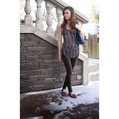 Isabel Marant für H&M Federn Aufdruck Leinen Top Weste T-Shirt Größe UK8/ EUR36/