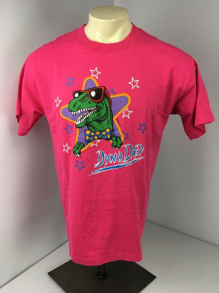 Dino Dad Hot T-shirt rosa Dinosaur Graphic T-shirt Hot Father's Day Best Dad Ever Sz XL Vtg a63553