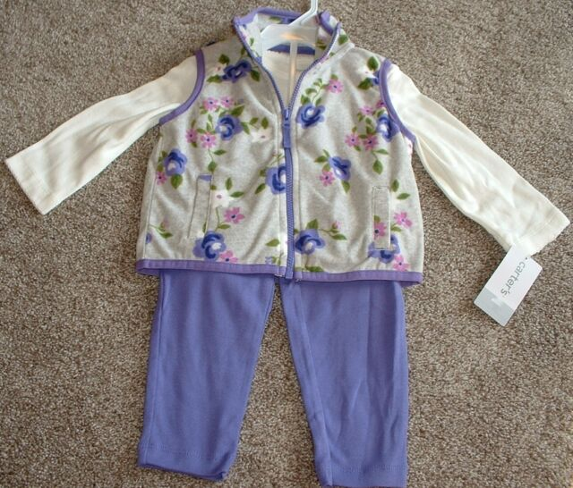 Carter's Baby Girls Clothes Floral Vest 3pc Set Size 3 Months 3M NWT NEW 0-3 mos