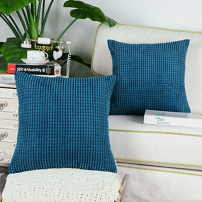 2Pcs Sea Blue Throw Pillows Covers Corn Soft Corduroy Striped Sofa Decor  20\
