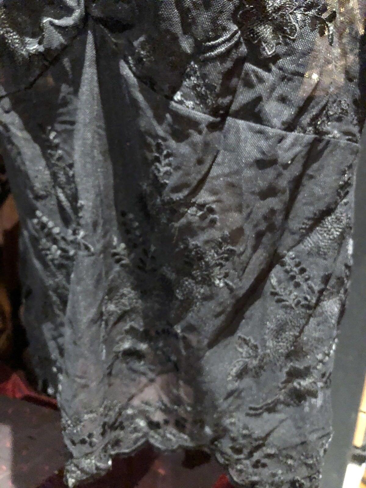 Vintage Sheer Black Lace Gothic Corset Bustier Top - image 3
