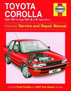 haynes owners workshop manual toyota corolla petrol 87 92 service rh ebay com 1990 Toyota Corolla ManualDownload Motores Toyota Corolla 1990 Manual