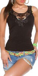 Neu trendy Tanktop Spitze Dekolleté Lace T-Shirts Tops Tank Top Damen Shirt!3255