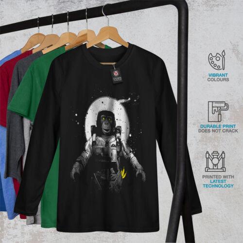 Wellcoda Space Monkey Moon Mens Long Sleeve T-shirt Planet Ape Graphic Design