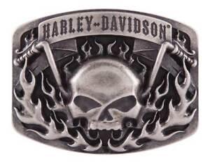 Harley-Davidson-Men-039-s-Skull-Bars-amp-Flames-Belt-Buckle-Antique-Nickel-HDMBU11406
