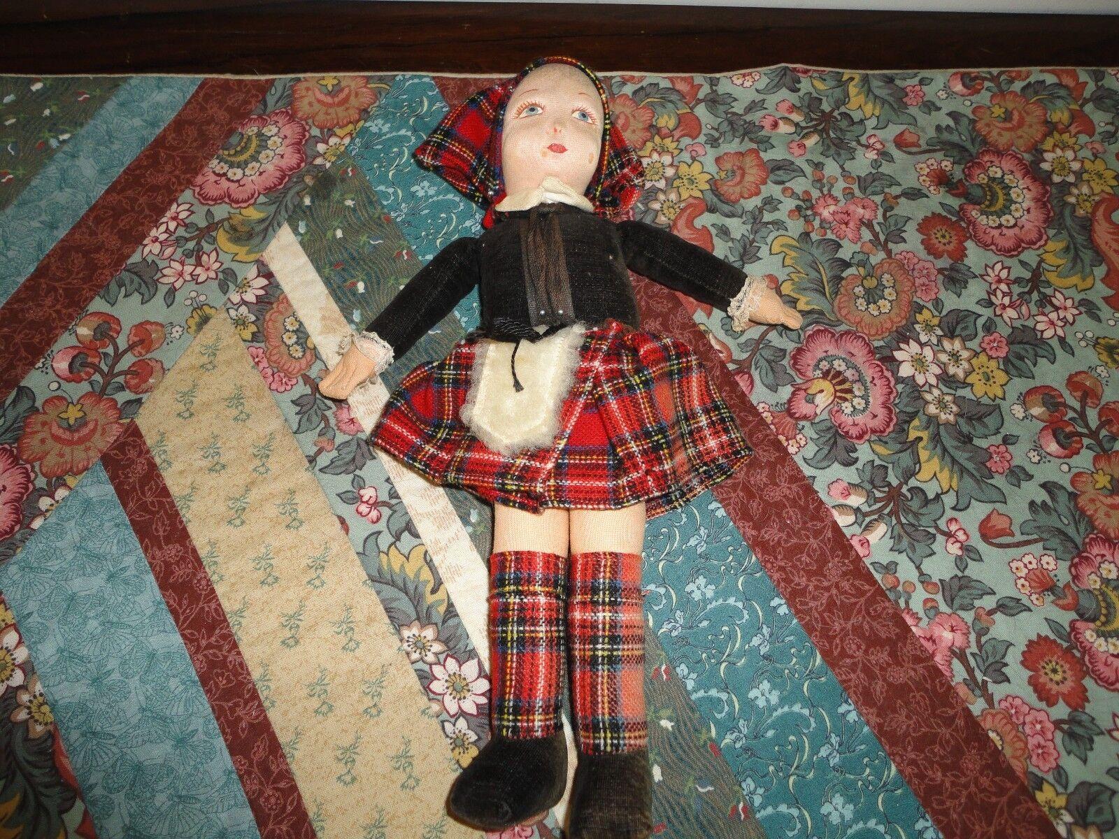 Antiguo Norah Wellings Inglaterra Muñeca De Tela De Terciopelo 12 in (approx. 30.48 cm) Traje Escocés Original