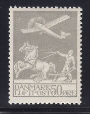 Denmark Sc C4 MNH. 1929 50o Airplane, Plowman & Horses, well centered