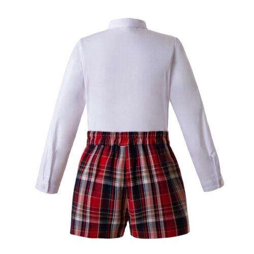 Fashion Boy Tartan Outfit Shirt+Shorts Christmas Clothing Outfits Pants 2-8Y