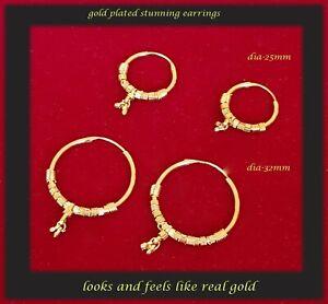 22k GOLD PLATED SLEEPER HOOP EARRINGS - 2 SET PRICE