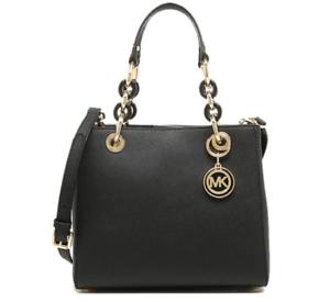 2c46e9309718 ... shopping image is loading michael kors cynthia small leather satchel  shoulder bag 17416 dcd29