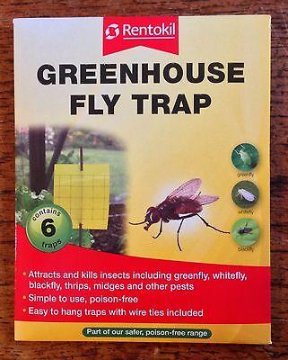 Lot de 6 Rentokil Serre Mouche Pièges aleurodes Greenfly moucherons nuisibles etc