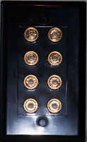 Black 4 Speaker Wall Plate 8 Post Stereo Wall Plate