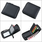 Men Leather Zipper Wallet Pockets Money Purse ID Credit Card Clutch Bifold Black