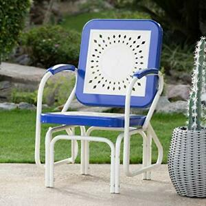 Image Is Loading Retro Vintage Style Blue White Metal Patio Glider