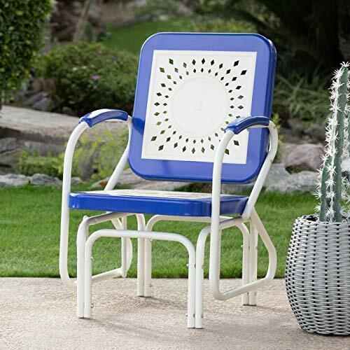 Retro Vintage Style Blue White Metal Patio Glider Chair Outdoor Furniture