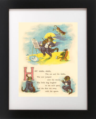 Antique Children/'s Nursery Rhyme Poem HEY DIDDLE DIDDLE Cat Fiddle Cow Art Print