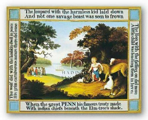 MUSEUM ART PRINT Peaceable Kingdom Quotes Edward Hicks 23x18 Haddads