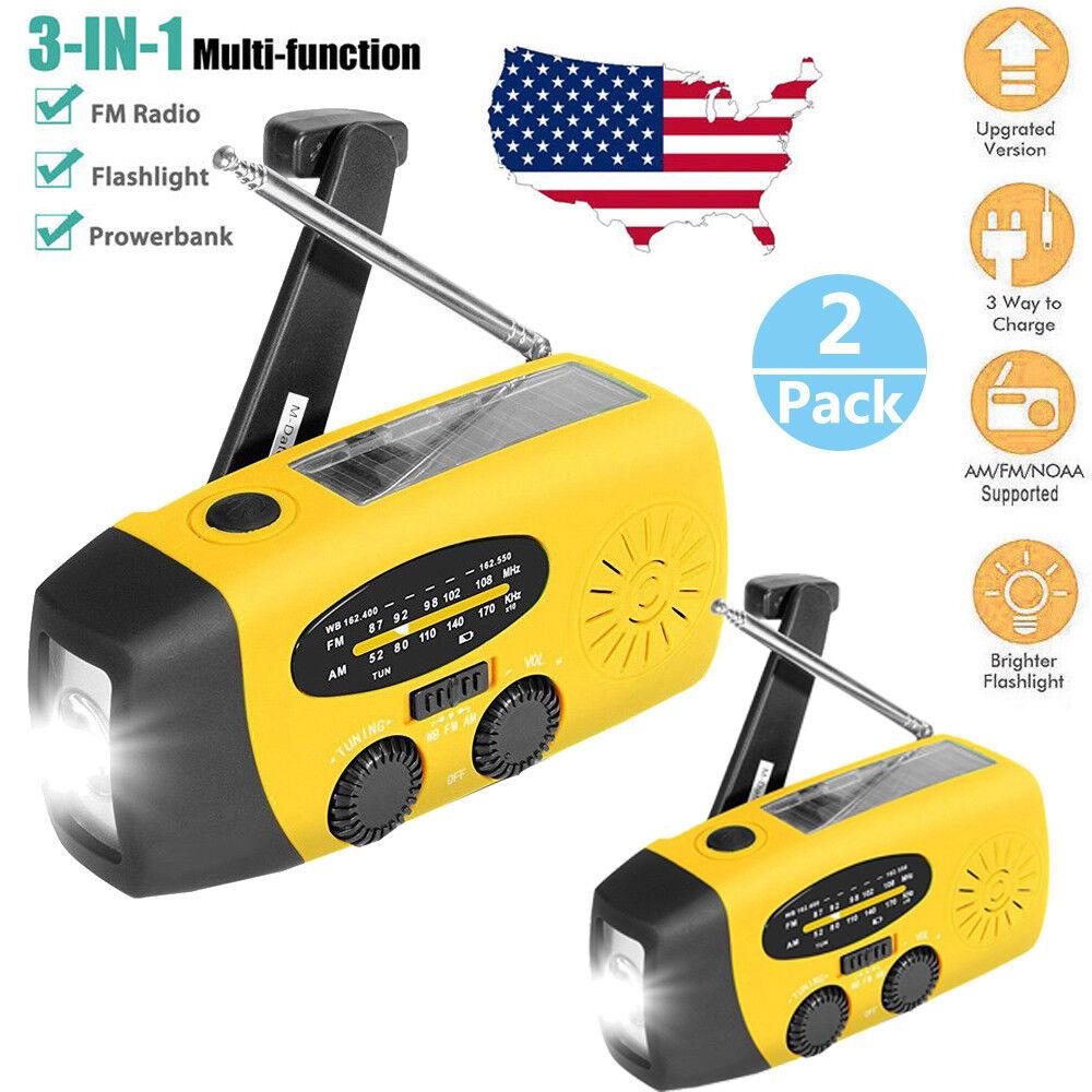 2x Emergency Solar  Hand Crank Dynamo AM FM NOAA Weather Radio LED Flashlight USA  general high quality