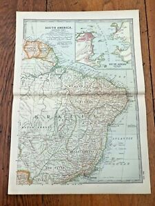 "1903 large colour fold out map titled "" south america - eastern part """