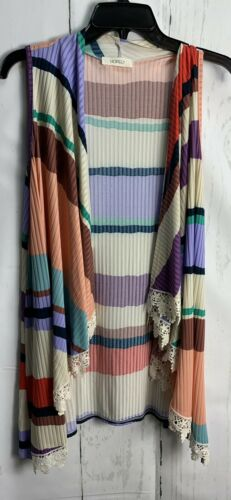 Hopely S Lilac Multicolor Stripe Lace Accent Ribb… - image 1