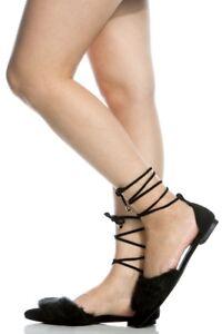 5e1c9b10eb89 New Womens Pointy Toe Faux Fur Leg Wrap Lace Up Ballet Flat ...