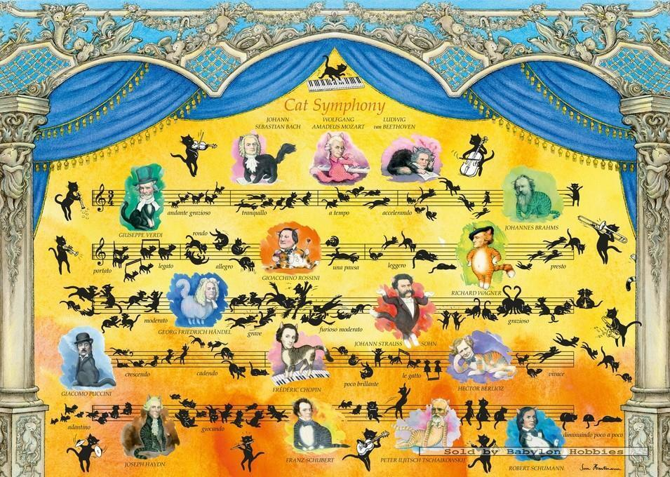 2000 pcs jigsaw puzzle: Sven Hartmann - Cat Symphony (Cats, Music) (Heye 29636)