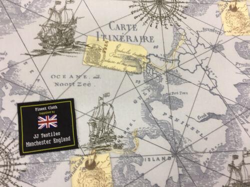 navires Imprimé 100/% Coton Popeline Tissu. 10 mètres vintage bleu carte