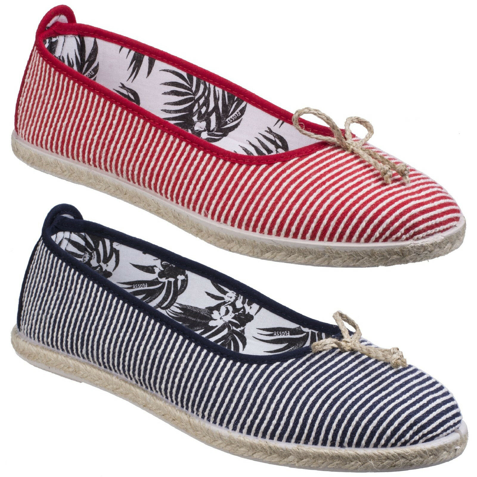 Flossy Sabroso Espadrilles Summer Slip On Canvas Pumps Plimsoles shoes Womens