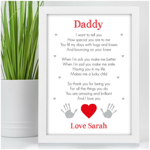 PERSONALISED Birthday Gifts for Daddy New Daddy Poem Gifts from Son Daughter
