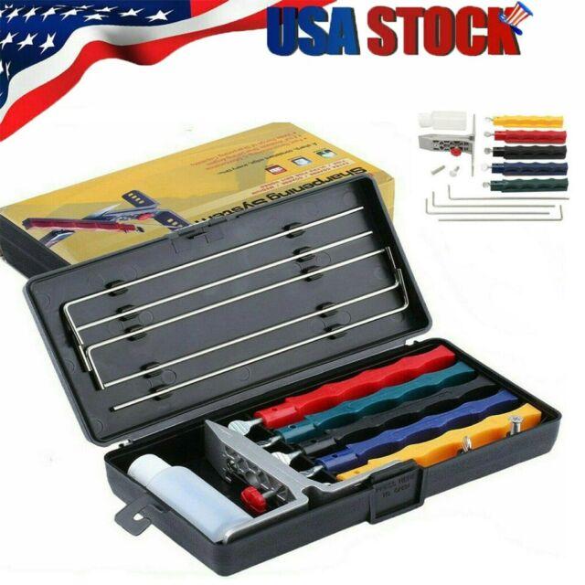 Durable Kitchen Knife Sharpener Set Sharpening System Fix-angle W/ 5 Stone Kit