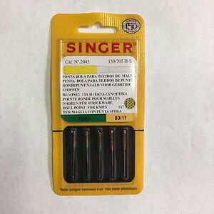 Genuine Singer Yellow Band Light Ball Point for Knits 5 Needles 2045 #9,11,14,16