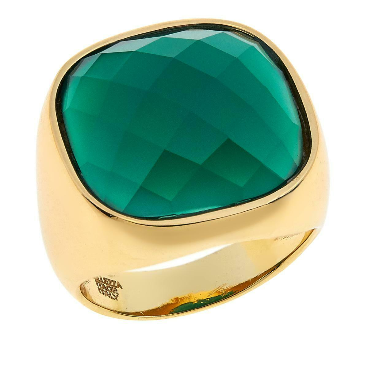 BELLEZZA GREEN AGATE YELLOW BRONZE CUSHION SOLITAIRE POLISHED RING SIZE 8 HSN