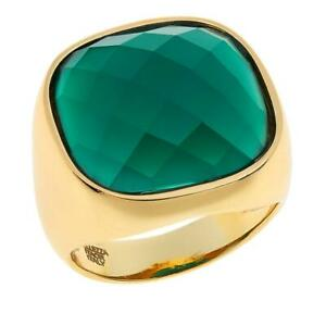 BELLEZZA-GREEN-AGATE-YELLOW-BRONZE-CUSHION-SOLITAIRE-POLISHED-RING-SIZE-8-HSN