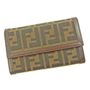 604f0b92 Details about Fendi Wallet Purse Trifold Zucca Black Brown Woman unisex  Authentic Used S665