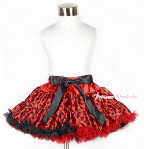 Xmas Red Black Polka Dots Beetle Ladybird Girl FULL Pettiskirt Dress 1-8Year