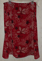 Womens Leslie Fay Red W/ Black & Beige Polka Dot Floral Print Skirt Size 14