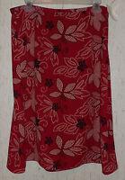 Womens Leslie Fay Red W/ Black & Beige Polka Dot Floral Print Skirt Size 14