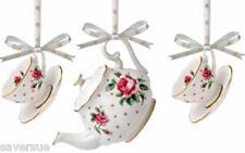Royal Albert Hanging Ornaments Christmas Tree Set of 3 Tea Cup Figurines Roses
