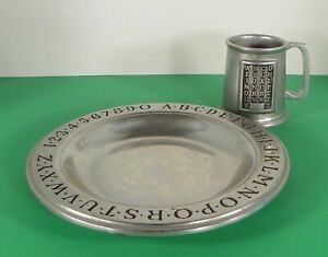 Vintage-Pewter-RWP-Wilton-Children-039-s-Alphabet-Numbers-Plate-and-Cup-Mug