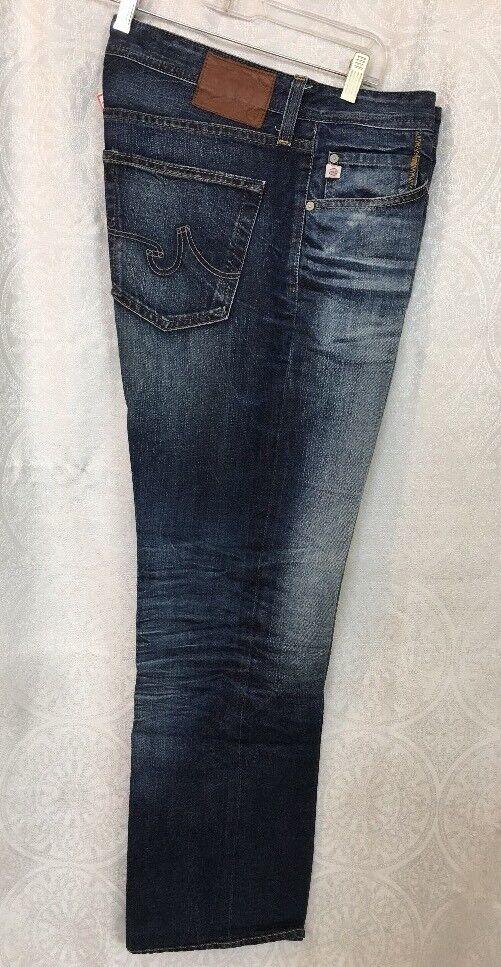 Ag Mens Jeans Indigo bluee Whiskers The Predege  Straight Leg 34x32