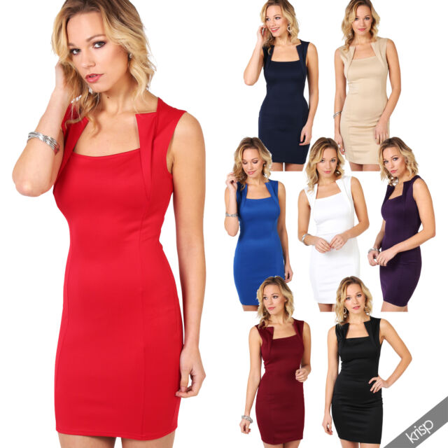 Women Ladies Panelled Sexy Bodycon Hot Dress Shift Pencil Wiggle Evening Colour