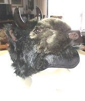 Buffalo Hat Furry Viking Head Horns Mens Womens Costume Bison Adult Buffaloes