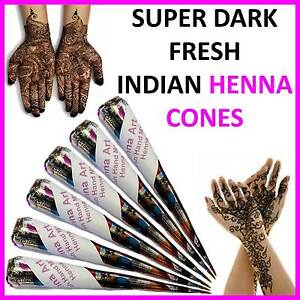 HENNA-MEHNDI-TATTOO-KIT-CONES-PEN-Fresh-PACK-OF-6-HENNA-CONES