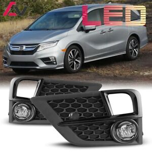 Fits 18-20 Honda Odyssey Clear Lens PAIR LED Fog Light Lamps+Wiring+Switch Kit