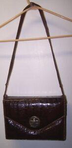 Image Is Loading Genuine Vintage Alligator Handbag Purse Adjule Strap Made