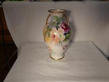 """STUNNING NIPPON HP RED WHITE PINK ROSES GOLD TWO HANDLED 11"""" TALL VASE  -  NR"""