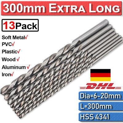 30cm Extra Lang Metallbohrer 6-20mm Spiralbohrer HSS-4341 Stahlbohrer Bohrer-Set