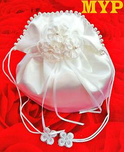 2019 DernièRe Conception Ladymyp © Mariée Sac Avec Fleurs En Satin Et Perles Ivory/blanc-afficher Le Titre D'origine Demande DéPassant L'Offre