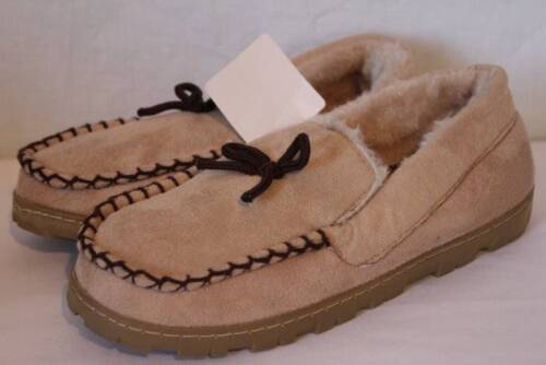 NEW Womens Slippers Small 5-6 Tan Beige Moccasin Faux Fur Shoes Hard Sole