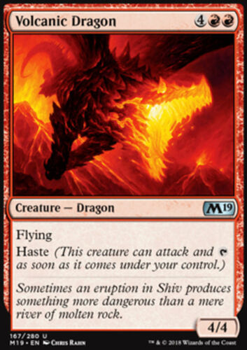 Magic the Gathering MTG - M19 - Red Creature - 4x Volcanic Dragon x4 Lot